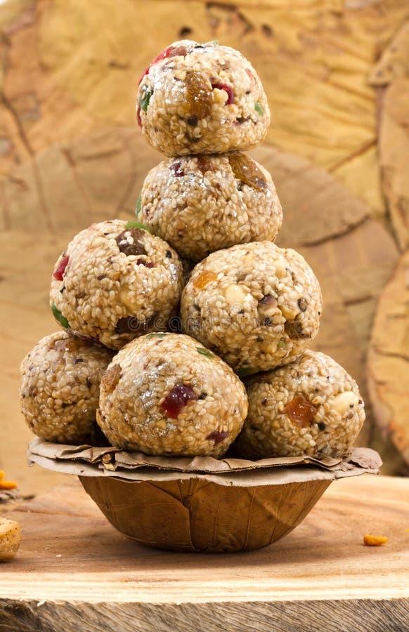 Sweet Til Laddu. Indian Sweet Food Til Laddu On Background royalty free stock images