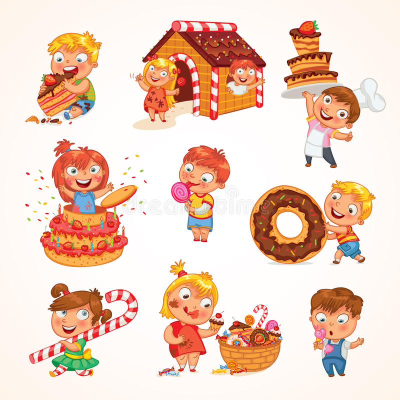Sweet tooth. Cute toddler boy eating ice-cream. Boy soiled himself cake. Pastry chef brings sweetness. Pretty girl jump out of a large birthday cake royalty free illustration