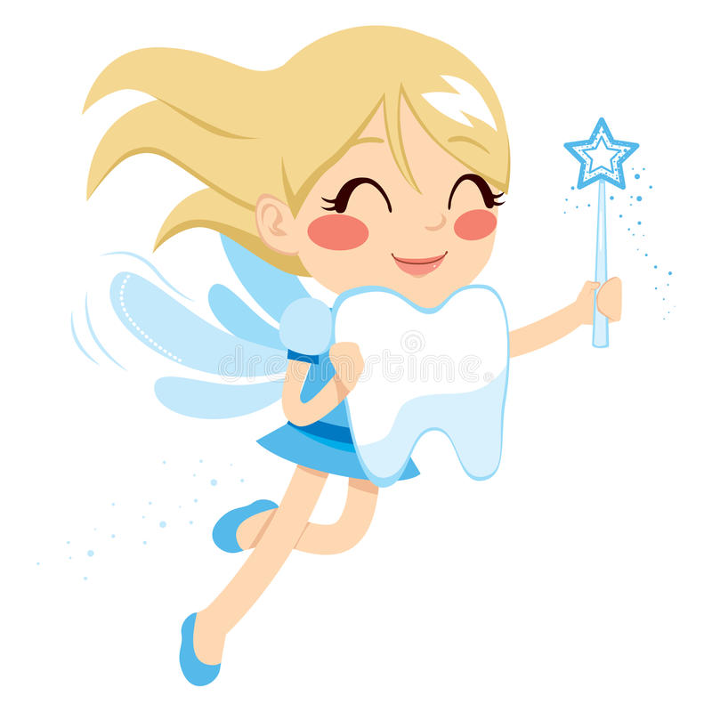Sweet Tooth Fairy. Beautiful sweet blonde tooth fairy girl holding big tooth and magic wand vector illustration
