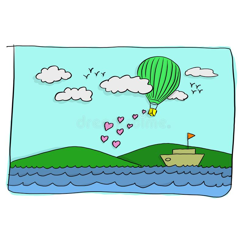 Sweet valentine card of green hot air balloon flying over the boat in the sea with pink heart shape vector illustration.  stock illustration