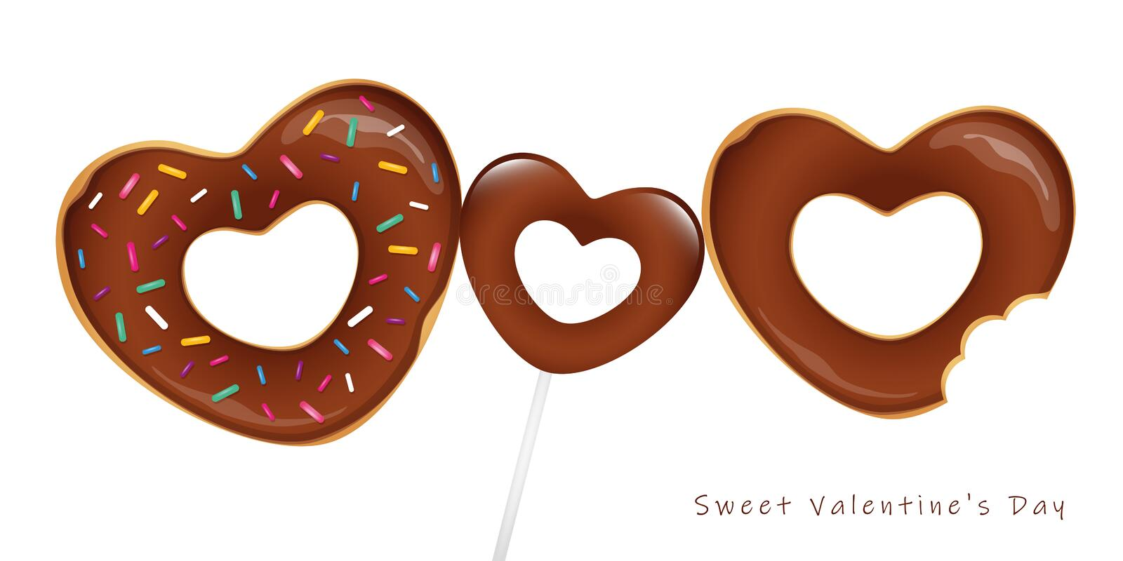 Sweet valentines day with chocolate donuts and lollipop vector illustration