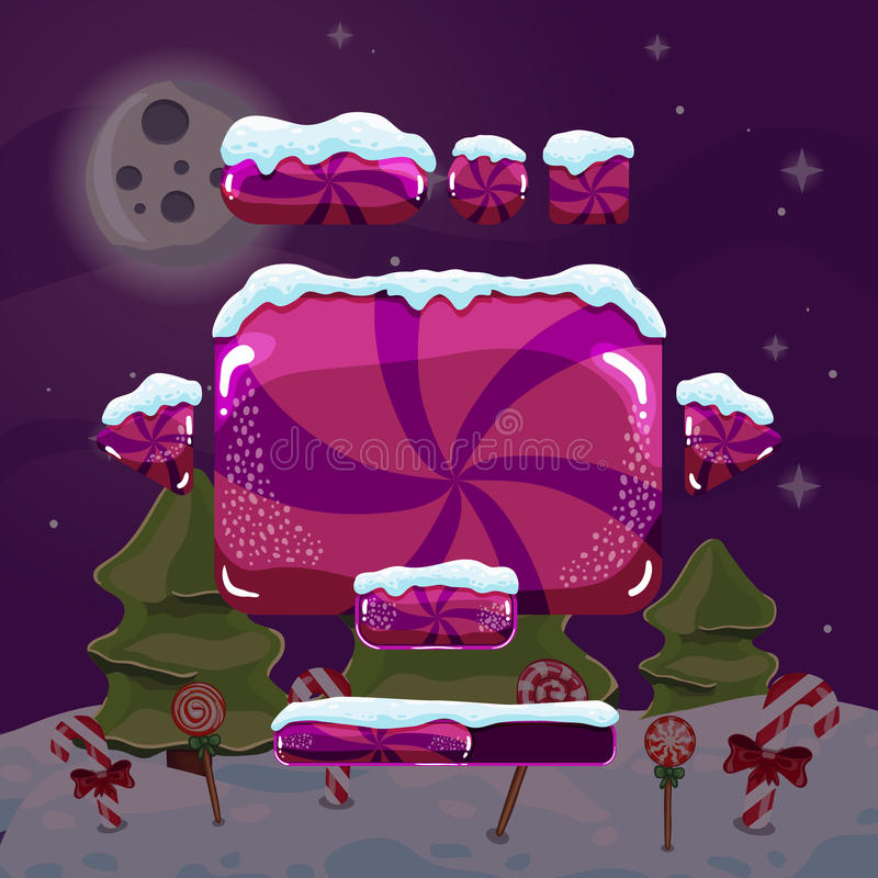 Sweet vector winter user interface game. Christmas button stock illustration