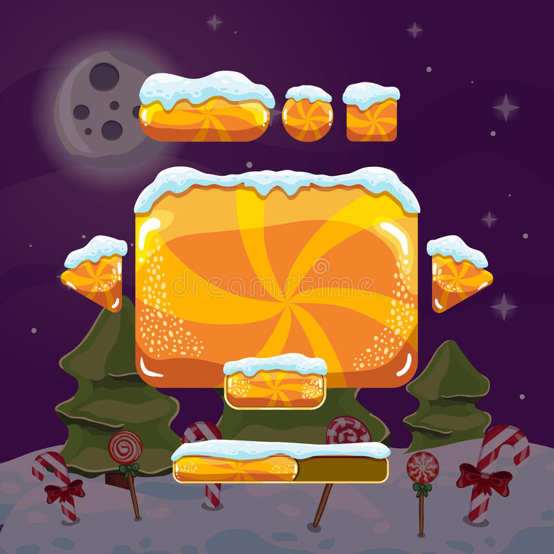 Sweet vector winter user interface game. Christmas button royalty free illustration