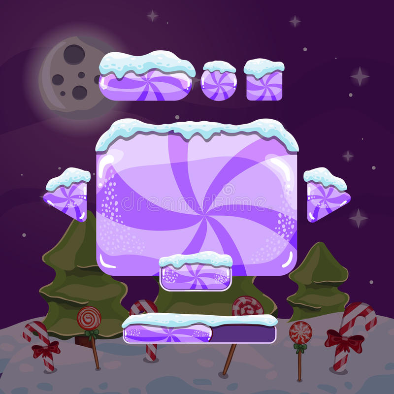Sweet vector winter user interface game. Christmas button vector illustration