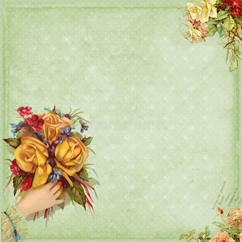 Sweet Victorian style frame hand holding flowers royalty free illustration