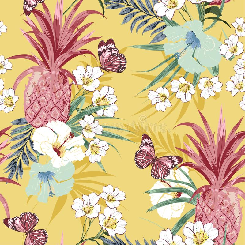 Sweet vintage pastel tropical forest exotic colorful flowers palm leaves  seamless vector pattern,design for fashion,fabric, royalty free illustration