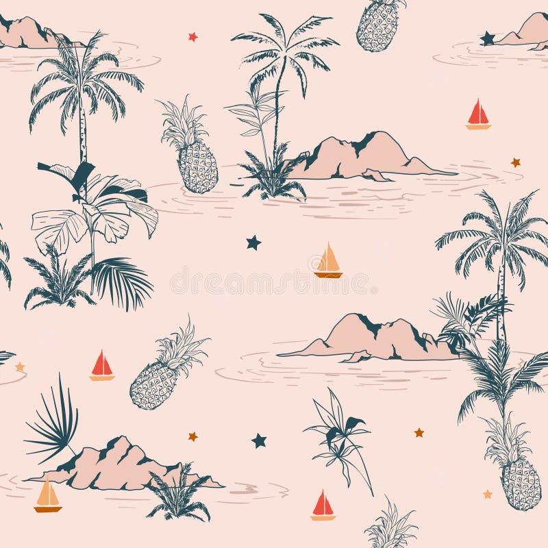 Sweet vintage summer island tropical seamless pattern on pink ba vector illustration