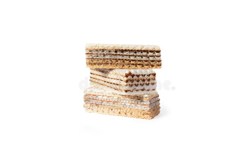 Sweet waffle cookie cake. On a white background isolate. A treat for any holiday royalty free stock photo
