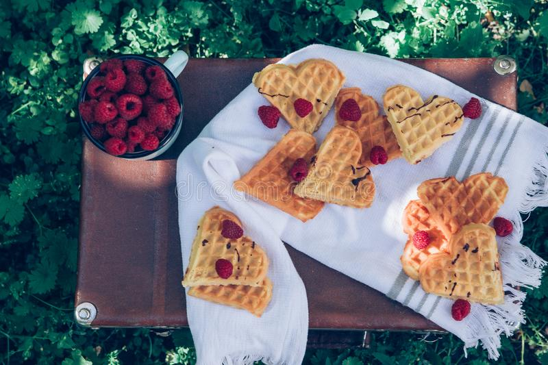 Sweet heart shaped waffles with raspberries for dessert outdoor picnic in the garden. Sweet waffles with raspberries for dessert outdoor picnic in the garden stock photos