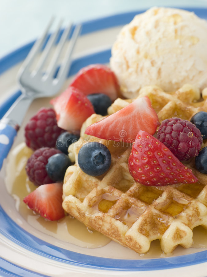 Free Sweet Waffles With Berries Ice Cream And Syrup Stock Photo - 5859040