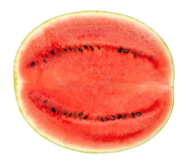 Sweet watermelon half, cross section, front view, over white. Sweet watermelon half, cross section, front view, isolated on white background. Ripe fruit of stock image