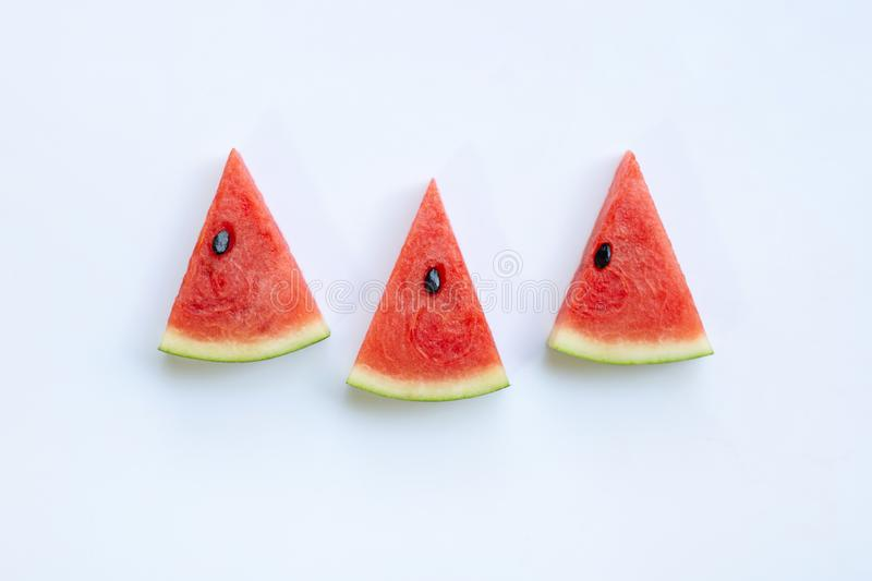 Sweet watermelon slices on white background. Top view royalty free stock photography