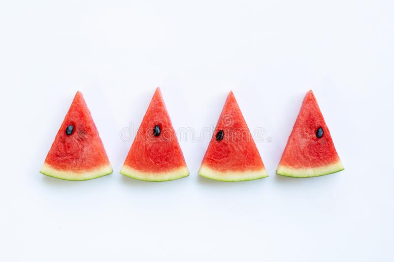 Sweet watermelon slices on white. Background royalty free stock photo