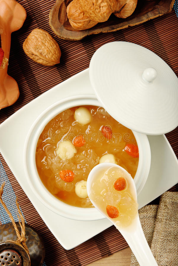 Sweet white fungus and lotus seeds soup royalty free stock image