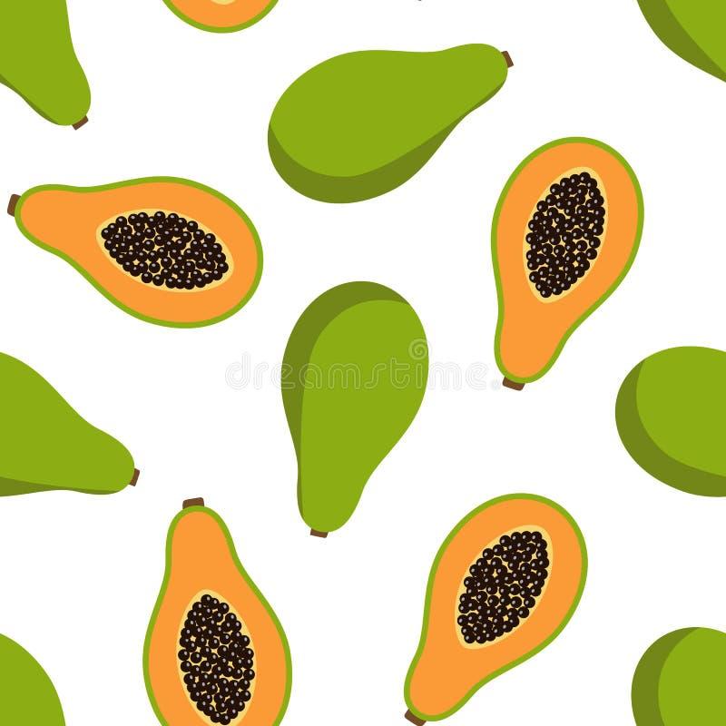 Sweet whole papaya and cut papaya tropical exotic fruit summer orange green with seeds on a white background seamless pattern royalty free illustration