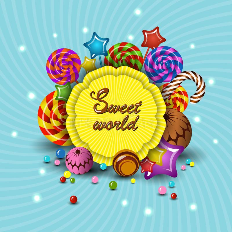 Sweet World, vector cartoon logo children`s treats lollipops, candy. Isolate illustration for kids party colorful design mockup stock illustration
