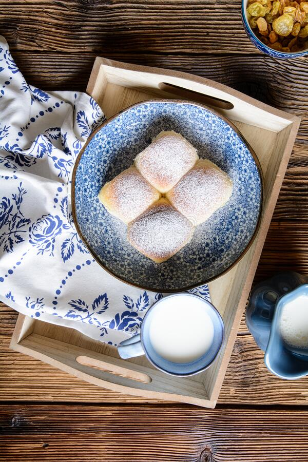 Free Sweet Yeast Buns Stuffed With Curd, Raisins And Studded With Powdered Sugar Stock Photography - 190268762