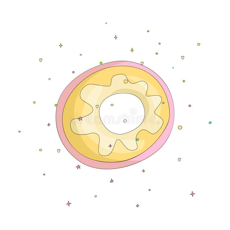 Sweet yellow donut cartoon icon with colorful decoration. Vector icon cartooning tasty donut with hole. Sweet pink round. Donute with decoration isolated on royalty free illustration