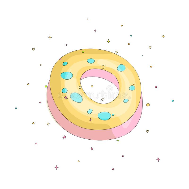 Sweet yellow donut cartoon icon with colorful decoration. Vector icon cartooning tasty donut with hole. Sweet pink round. Donute with decoration isolated on vector illustration