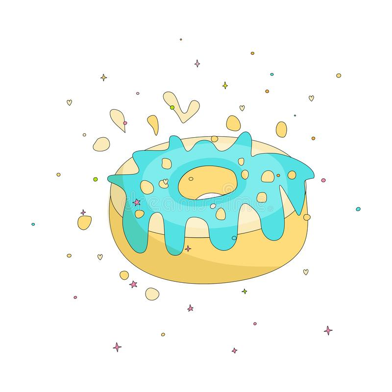 Sweet yellow donut cartoon icon with colorful decoration. Vector icon cartooning tasty donut with hole. Sweet yellow. Round donute with decoration isolated on stock illustration