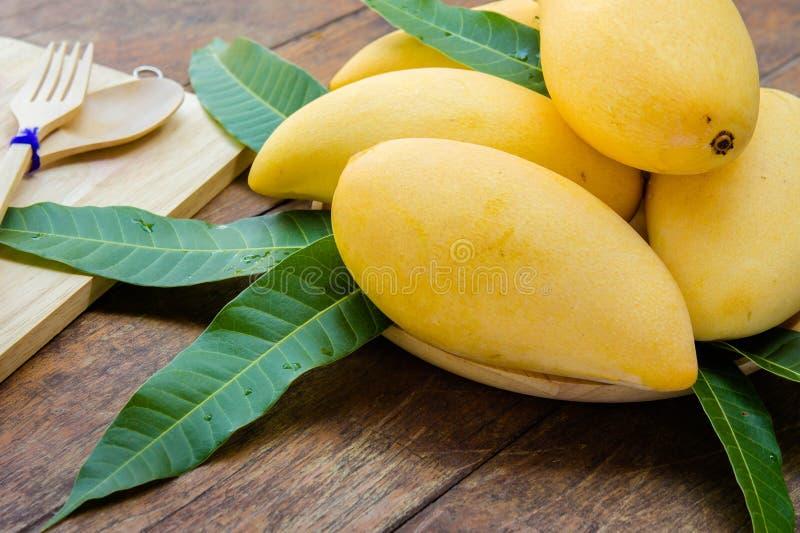 Sweet yellow mango fruit on summer on wood table.  royalty free stock photography