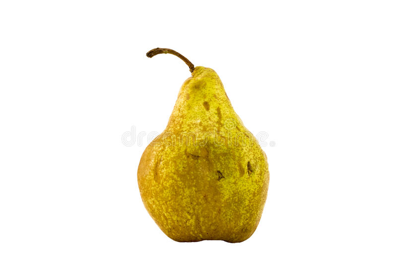 Sweet yellow pear. Isolated sweet yellow pear on white background stock photos