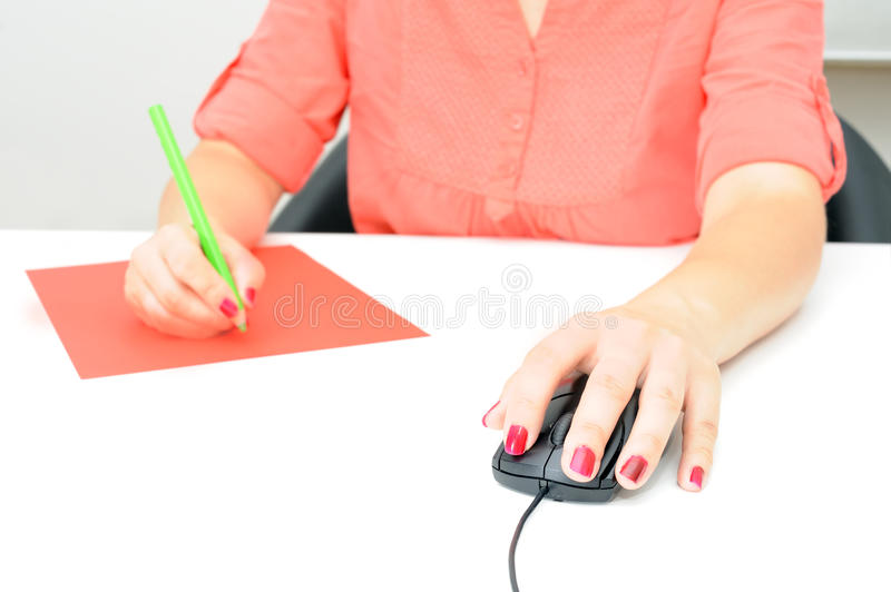 Sweet young business woman working in office stock photos
