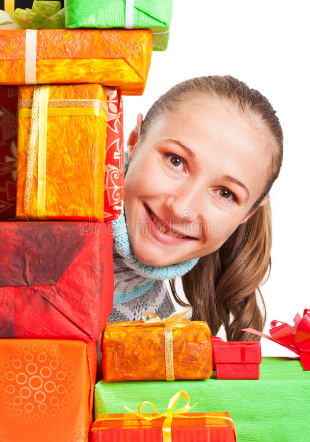 Download Sweet Young Girl With Christmas Present Stock Photo - Image: 27932376