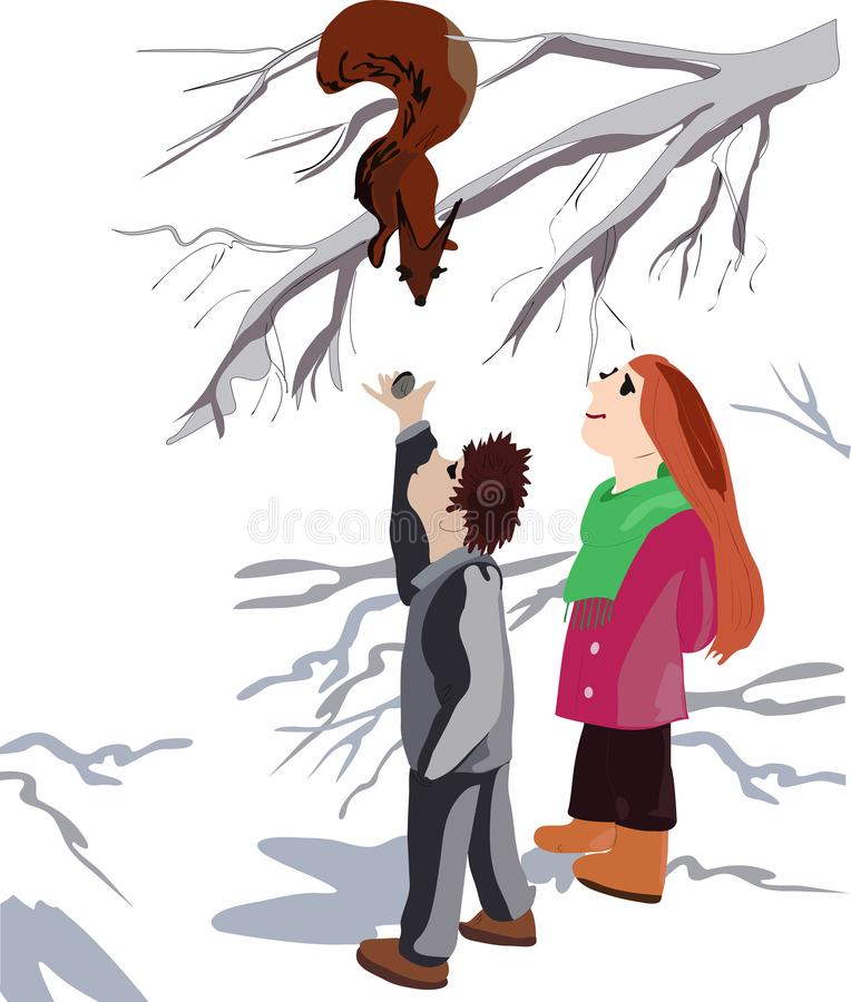 beautiful girl and happy boy joyful for a walk to feed the squirrel stock illustration