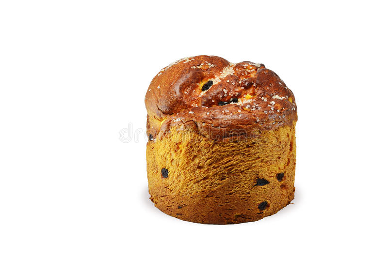 Sweet bread with raisins, sprinkled with sugar. royalty free stock photography