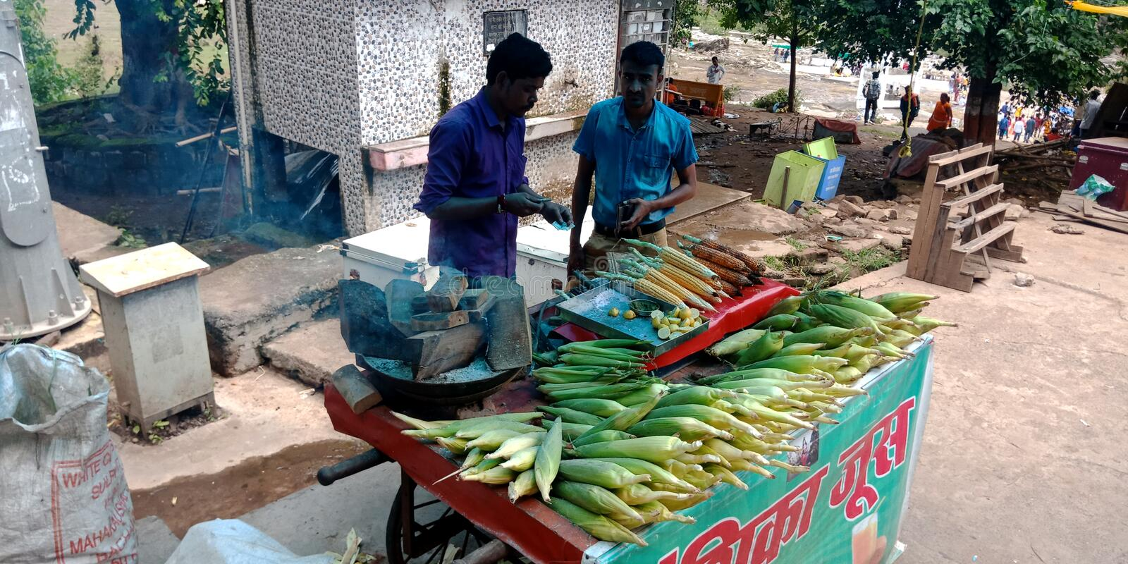 Sweetcorn street shop at indian village. Sweetcorn, vendor, street, village, indian, south, bakery, food, roster, famers stock photos