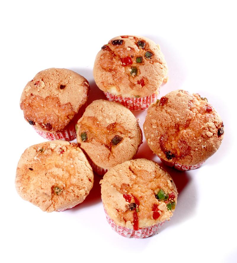 Sweetest hand made cup cakes with cherry bits . royalty free stock images