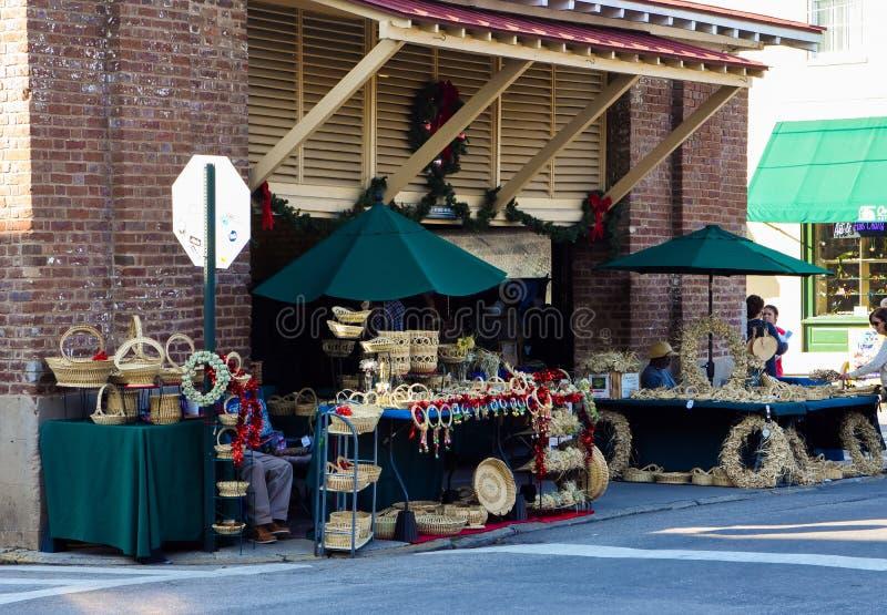 Sweetgrassmanden bij Stadsmarkt, Charleston, Sc royalty-vrije stock afbeelding
