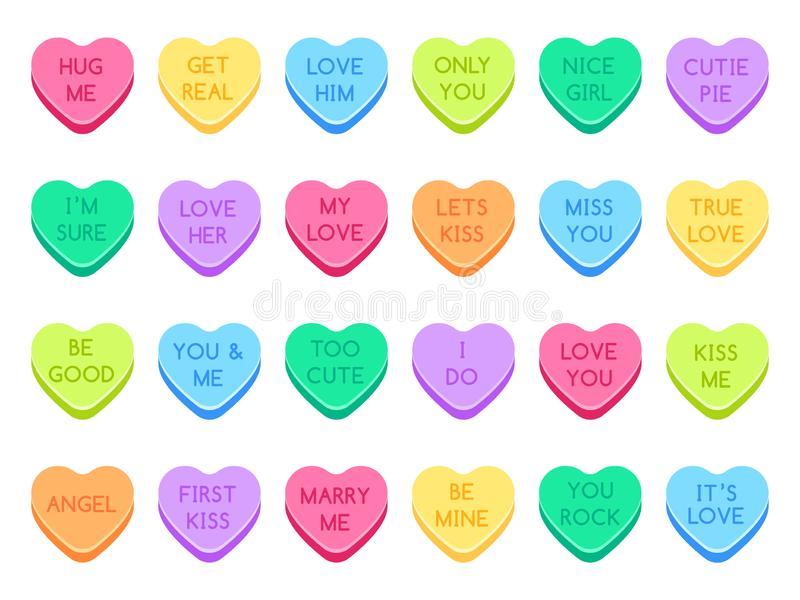 Sweetheart candy. Sweet heart candies, sweets valentines and conversation love hearts candies flat vector illustration. Sweetheart candy. Sweet heart candies royalty free illustration