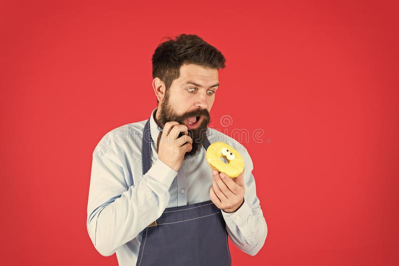 Sweetie hipster. baker hold donut. Funny hipster. Bearded man cook. Chef man in cafe. Diet and healthy food. Bearded man royalty free stock photo