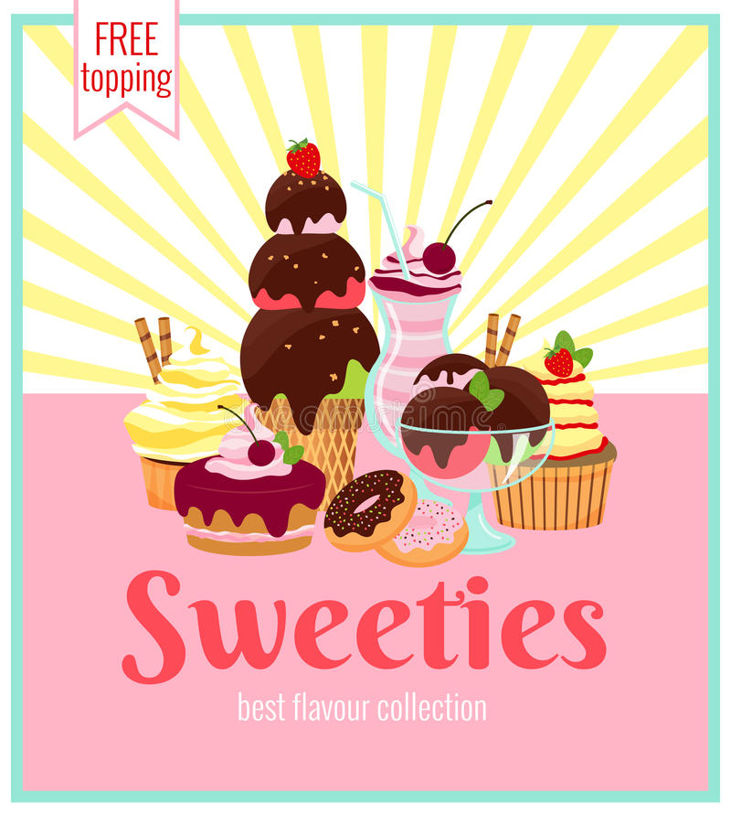 Sweeties retro poster design. With a colorful array of ice cream cakes cookies donuts and cupcakes over a pink background with yellow rays and text - Sweeties vector illustration