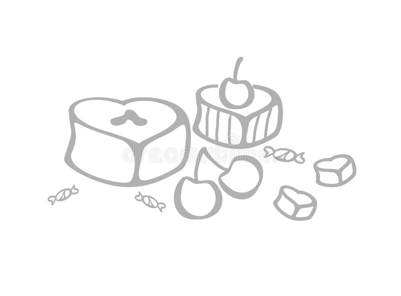 Download Sweets stock illustration. Image of grey, white, fruit - 19155813