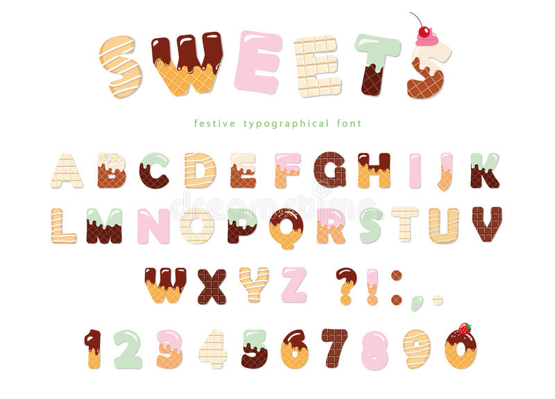 Sweets bakery font design. Funny latin alphabet letters and numbers made of ice cream, chocolate, cookies, candies. For royalty free illustration
