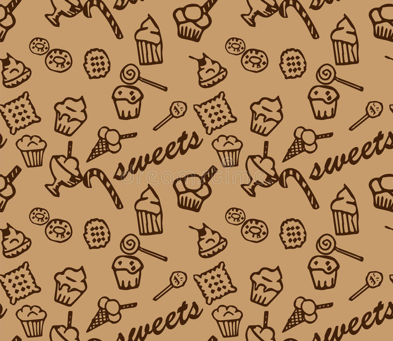 Sweets brown pattern royalty free stock photography