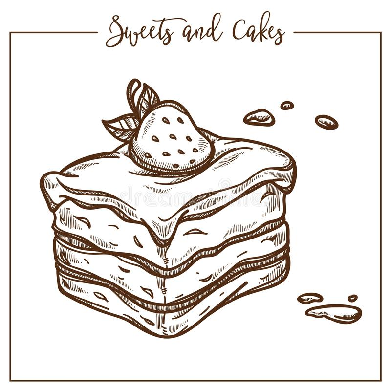Sweets and cakes, baked dessert with strawberry on top. Sweets and cakes, baked dessert with strawberry and leaf on top vector. Monochrome sketch outline of royalty free illustration