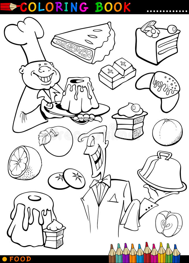 Sweets And Cakes For Coloring Stock Image