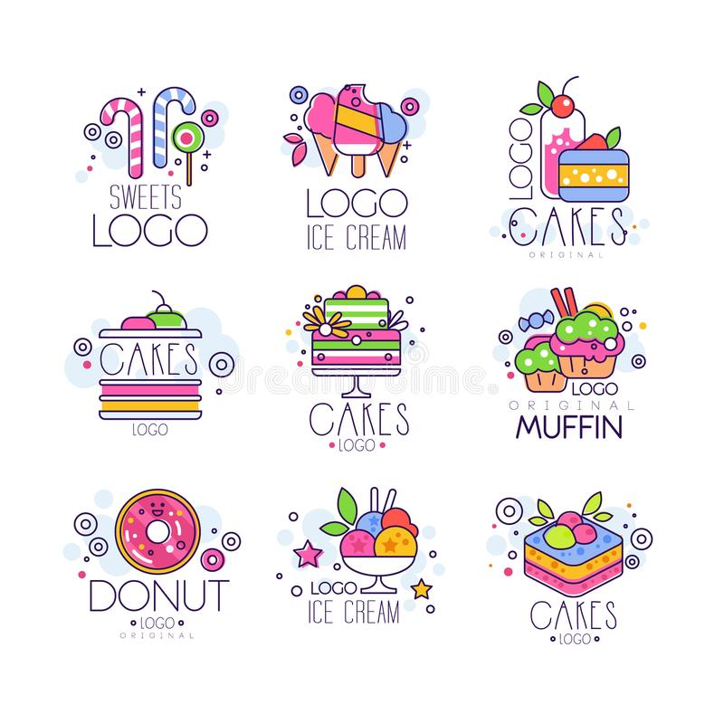 Sweets, cakes, ice cream logos set, confectionery and bakery products vector Illustrations. Isolated on a white background stock illustration