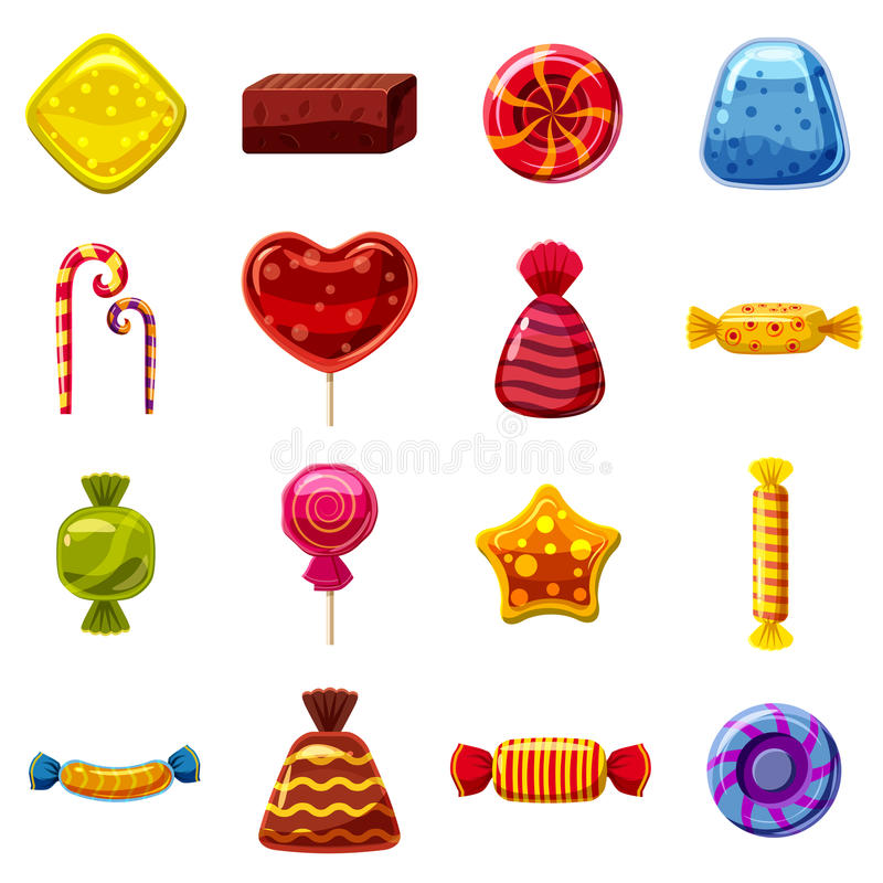 Sweets cakes icons set, cartoon style vector illustration