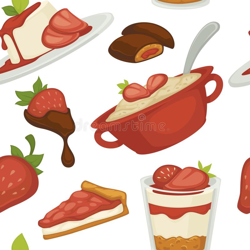 Sweets and cakes pasty foot baked meal with strawberries. Seamless pattern vector chocolate and ice cream in mug saucer with spoon slices of berry with toppings vector illustration