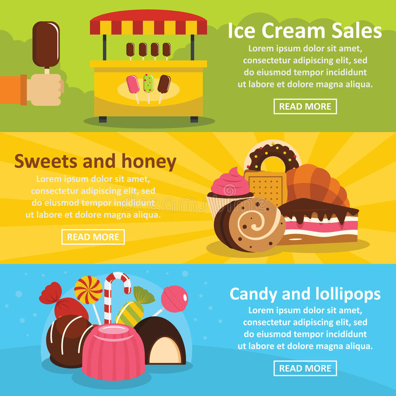 Sweets candies banner horizontal set, flat style. Sweets candies banner horizontal concept set. Flat illustration of 3 sweets candies vector banner horizontal vector illustration