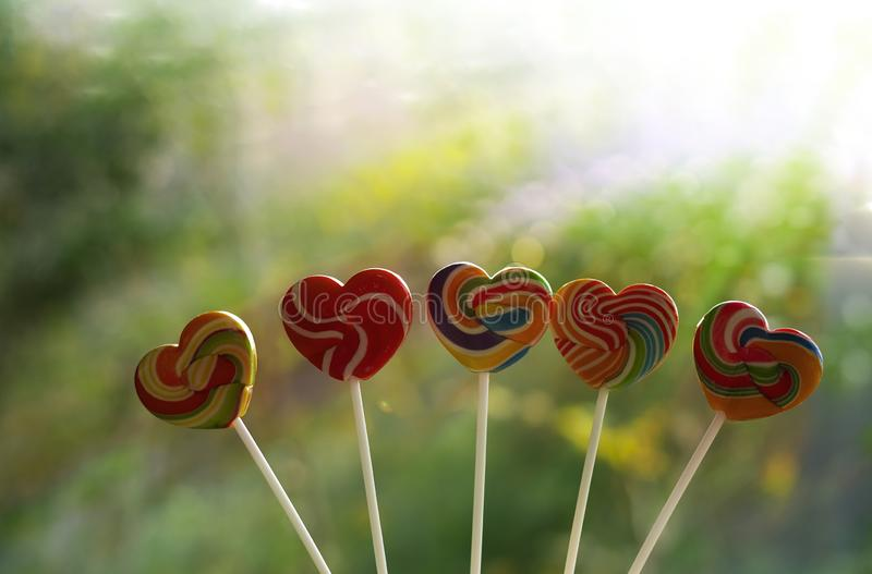 Sweets candies heart shape color full on blurred background, Set candy of color rainbow lollipops, Gift for Valentine day stock photos