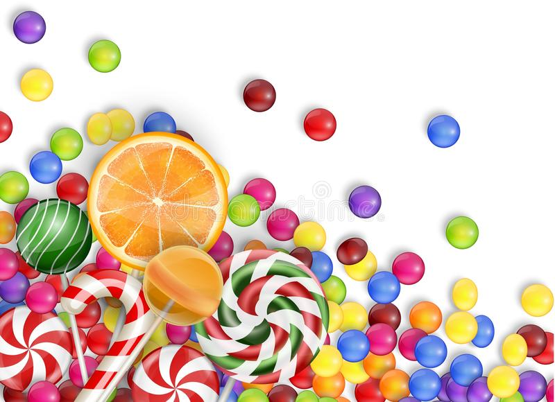 Sweets of candies with lollipop, orange juice, bubblegum on a white background. Illustration of Sweets of candies with lollipop, orange juice, bubblegum on a vector illustration