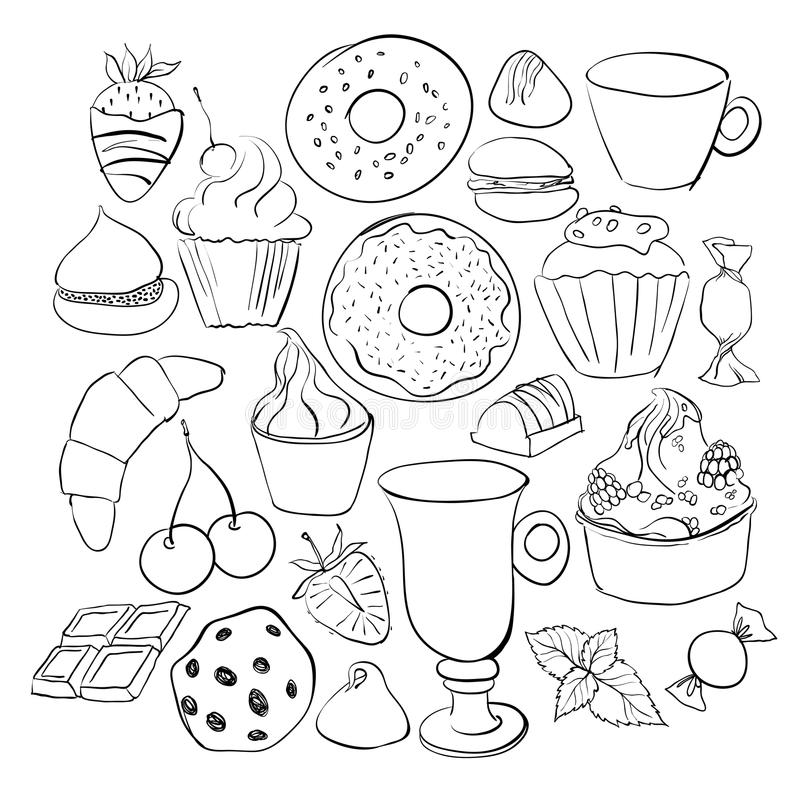 sweets and candies sketches set of various doodles hand