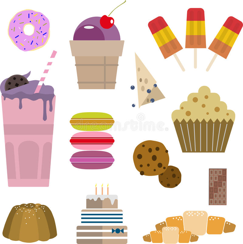 Sweets candy cake ice cream cake donut muffin stock photo