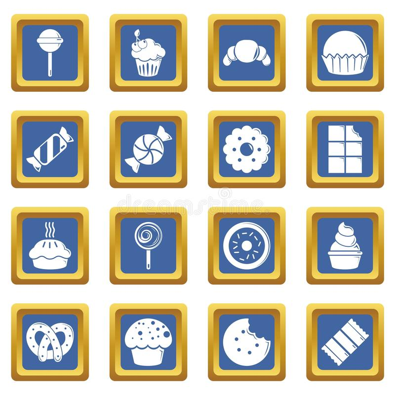 Sweets candy cakes icons set blue square vector illustration